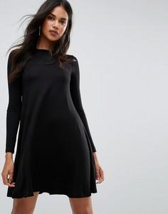 Свободное платье с длинными рукавами Boohoo - Черный