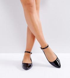 Черные лакированные туфли для широкой стопы на плоской подошве с ремешками на щиколотках New Look - Черный
