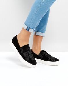 Кеды-слипоны с вышивкой New Look - Черный