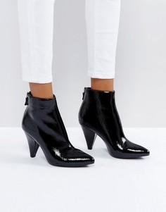 Черные ботильоны на каблуке с острым носком New Look - Черный