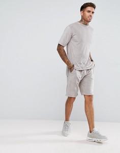 Комплект из махровой футболки и шортов boohooMAN - Кремовый