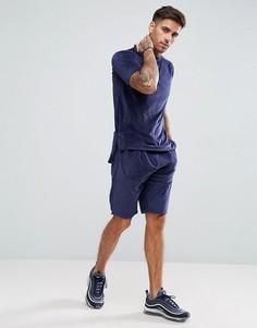 Темно-синяя футболка и шорты boohooMAN - Темно-синий