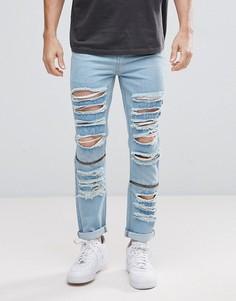 Светлые джинсы скинни с рваной отделкой boohooMAN - Синий