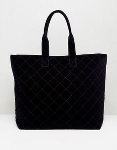 Стеганая сумка-шоппер Pieces - Темно-синий