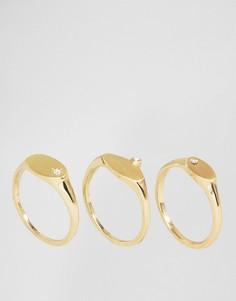 Набор колец с камнями Pieces - Золотой