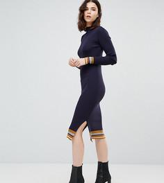 Трикотажное облегающее платье с контрастными вставками Y.A.S Tall - Темно-синий
