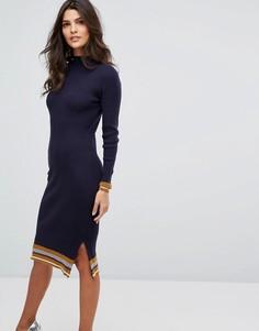 Трикотажное платье-футляр в полоску Y.A.S - Синий