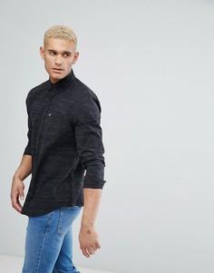 Черная узкая фактурная рубашка с карманом и логотипом Hollister - Черный