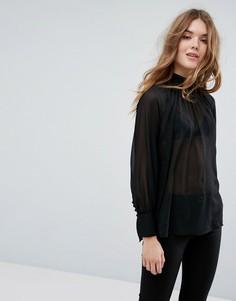 Блузка с высоким воротом New Look - Черный