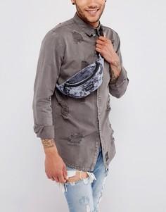 Сумка-кошелек на пояс из мятого бархата HXTN Supply - Серый