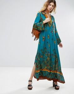 Платье-туника миди с принтом Free People - Зеленый