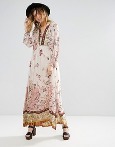 Платье-туника миди с принтом Free People - Кремовый