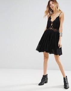 Платье мини с кружевными вставками Free People Ilektra - Черный