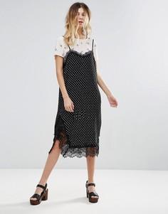 Платье-комбинация с принтом Free People Margot - Черный