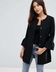 Пальто с оборками на рукавах JDY - Черный