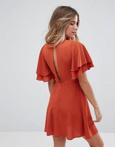 Чайное платье с двухслойными оборками New Look - Коричневый