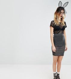 Блестящая прозрачная сетчатая юбка миди Rokoko Halloween - Черный