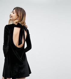 Бархатное свободное платье с завязкой Rokoko - Черный