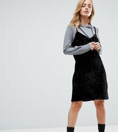Трикотажное бархатное платье 2 в 1 с капюшоном Noisy May Petite - Черный