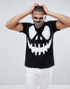 Черная футболка для Хэллоуина с принтом страшного лица boohooMAN - Черный