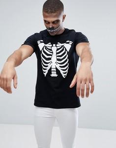 Черная футболка для Хэллоуина с принтом скелета boohooMAN - Черный