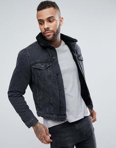 Черная джинсовая куртка с подкладкой из искусственного меха New Look - Черный