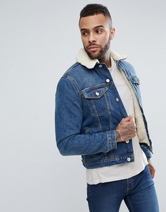 Синяя джинсовая куртка с подкладкой из искусственного меха New Look - Синий