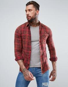 Красная выбеленная рубашка классического кроя в клетку New Look - Красный