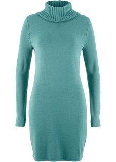 Вязаное платье с длинным рукавом и высоким воротником (минерально-синий) Bonprix