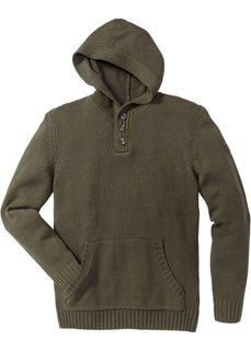 Пуловер Slim Fit с капюшоном (темно-оливковый) Bonprix