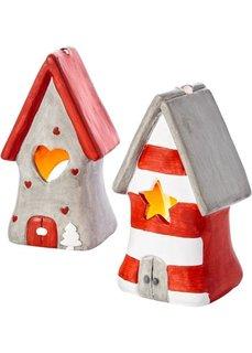 Фонарь-подсвечник Дом Деда Мороза (2 шт.) (красный/серый/белый) Bonprix
