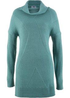 Удлиненный пуловер в стиле оверсайз (минерально-синий) Bonprix