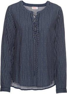 Туника с длинным рукавом и шнуровкой (ночная синь) Bonprix