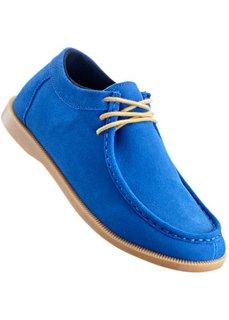 Удобные кожаные туфли на шнуровке, танкетка (синий джинсовый/серо-коричневый) Bonprix