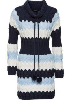 Удлиненный пуловер (темно-синий/нежно-голубой/кремовый в полоску) Bonprix
