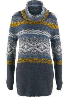 Удлиненный пуловер в стиле оверсайз с высоким воротом и длинным рукавом (ночная синь с узором) Bonprix