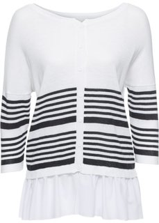 Пуловер (белый/синий в полоску) Bonprix