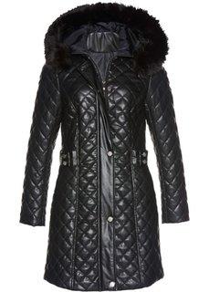 Стеганая куртка из искусственной кожи (черный) Bonprix