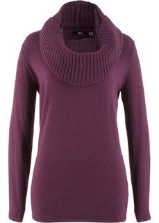 Пуловер 2 в 1 удлиненного дизайна с шалью (бузиничный) Bonprix