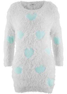 Пуловер с удлиненной спинкой и рукавами 3/4 (кремовый/мятный с узором) Bonprix