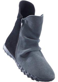 Удобные кожаные полусапожки (антрацитовый меланж/черный) Bonprix