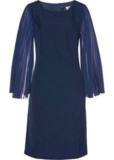 Платье с плиссированными рукавами (темно-синий) Bonprix