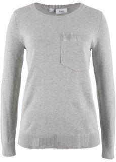 Пуловер с карманом на груди (светло-серый меланж) Bonprix