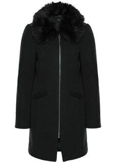 Шерстяное пальто со съемным воротником из искусственного меха (черный) Bonprix