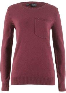 Пуловер с карманом на груди (кленово-красный) Bonprix
