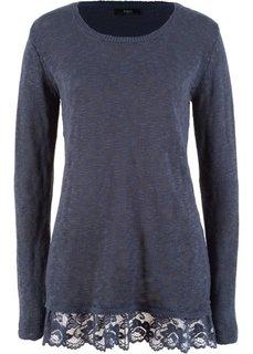 Пуловер с длинным рукавом и кружевной отделкой (черничный) Bonprix