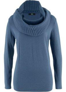 Пуловер 2 в 1 удлиненного дизайна с шалью (индиго) Bonprix