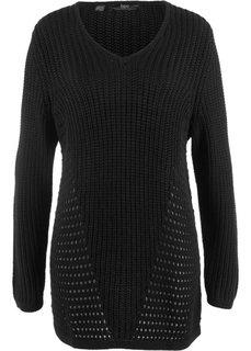 Вязаный пуловер со структурным узором (черный) Bonprix