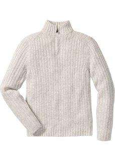 Меланжевый пуловер Regular Fit с воротником на молнии (натуральный меланж) Bonprix