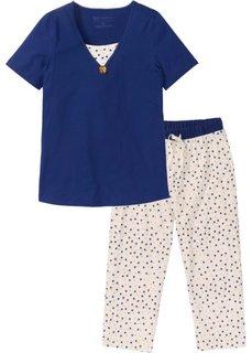 Пижама длиной 7/8 (ночная синь/кремовый с рисунком) Bonprix
